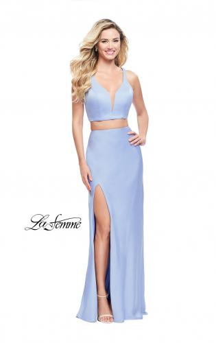 Picture of: Satin Two Piece Prom Dress with Leg Slit and Racer Back, Style: 25599, Detail Picture 2