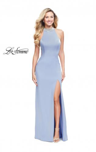 0b176a8ed34 ... Picture of: Jersey Prom Gown with Metallic Beading and Leg Slit, Style:  25767