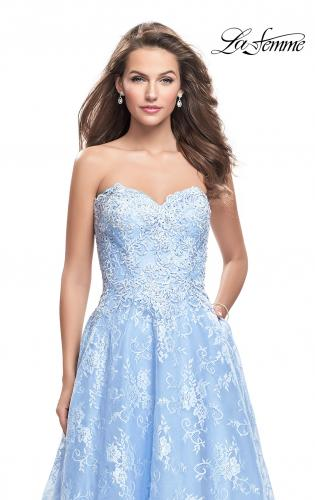 Picture of: Long Strapless Lace Ball Gown with Beading and Pockets, Style: 26338, Detail Picture 2