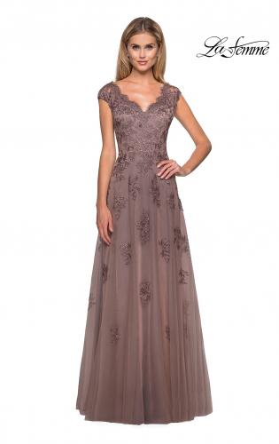 Picture of: Short Sleeve Lace Gown with Cascading Embellishments in Cocoa, Style: 26942, Main Picture