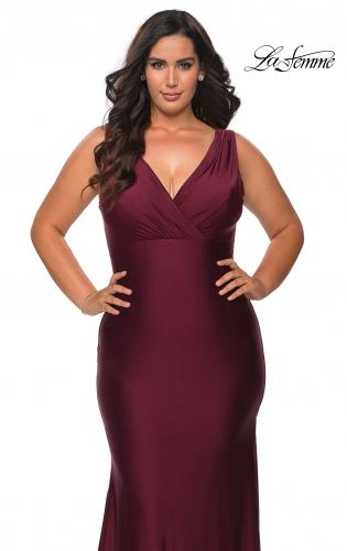 Picture of: Neon Plus Size Jersey Dress with Faux Wrap Bodice in Burgundy, Style: 29016, Main Picture