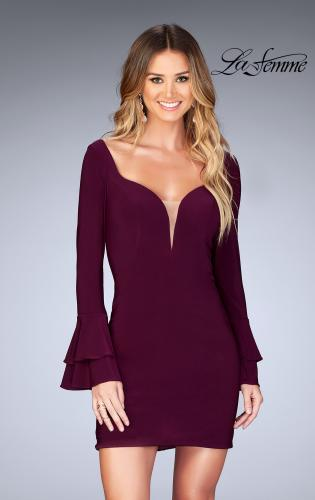 Picture of: Short Jersey Dress with Ruffle Sleeves and Strappy Back, Style: 25366, Main Picture