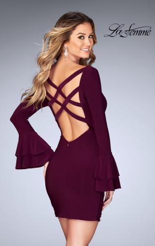 Picture of: Short Jersey Dress with Ruffle Sleeves and Strappy Back, Style: 25366, Back Picture