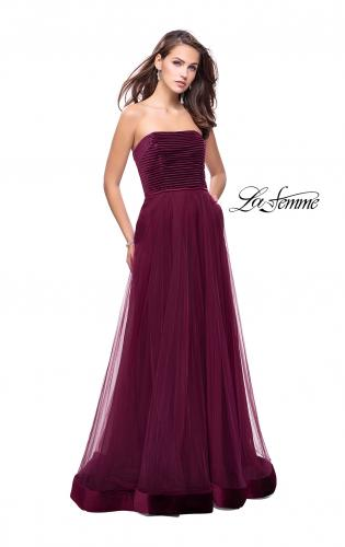 Picture of: Long Strapless Prom Dress with Velvet Bodice Detail, Style: 25408, Detail Picture 1
