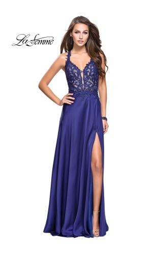 Picture of: Beaded and Embroidered Lace Prom Dress with Slit, Style: 26124, Main Picture