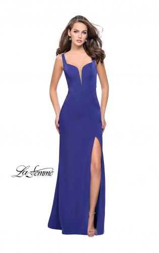 Picture of: Long Jersey Prom Dress with Metallic Beading and Slit, Style: 25623, Main Picture