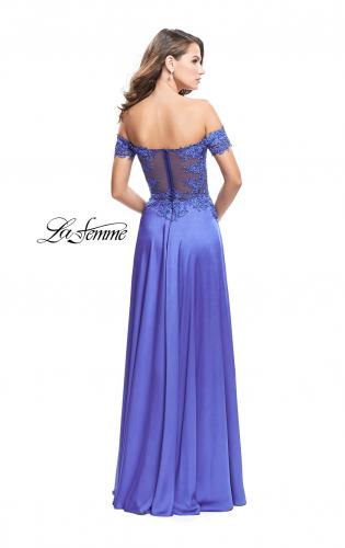 Picture of: A-line Off the Shoulder Satin Dress with Beaded Lace Bodice, Style: 25694, Back Picture