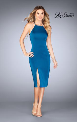 Picture of: Knee Length Jersey Evening Dress with Front Slit, Style: 25083, Main Picture