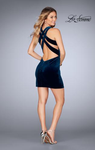 Picture of: High Neck Velvet Short Dress with Strappy Back, Style: 25091, Detail Picture 2
