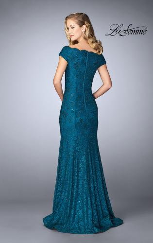 Picture of: Scalloped Off the Shoulder Lace Gown with Flare Skirt, Style: 24928, Back Picture