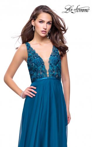 Picture of: A-line Prom Gown with Chiffon Skirt and Lace, Style: 26061, Detail Picture 1
