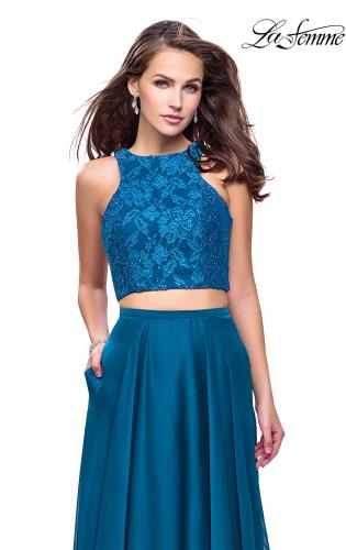 Picture of: Two Piece Prom Gown with Beaded lace Top and Pockets, Style: 26087, Detail Picture 1