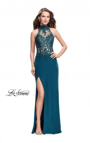 Picture of: Sheer Lace and Beaded Prom Dress with High Neck, Style: 26038, Detail Picture 2