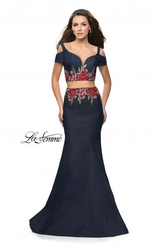 Picture of: Denim Two Piece Prom Dress with Floral Applique, Style: 25848, Main Picture