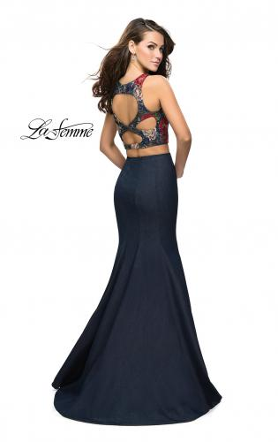 Picture of: Two Piece Mermaid Prom Dress with Denim Skirt, Style: 25614, Back Picture