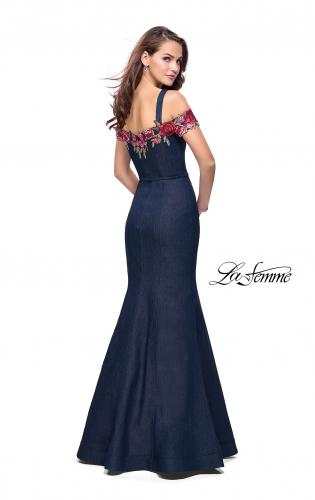Picture of: Denim Off the Shoulder Dress with Floral Applique, Style: 25753, Back Picture