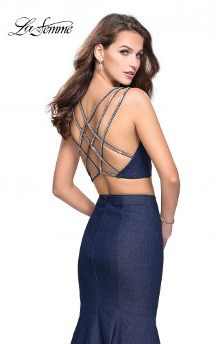 Picture of: Two Piece Denim Prom Dress with Beaded Straps, Style: 25754, Back Picture