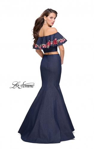 Picture of: Two Piece Denim Dress with Floral and Ruffle Detail, Style: 26013, Back Picture