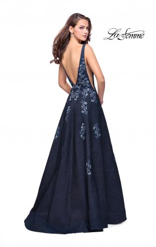 Picture of: Denim A-line Ball Gown with Floral Embellishments, Style: 26265, Back Picture