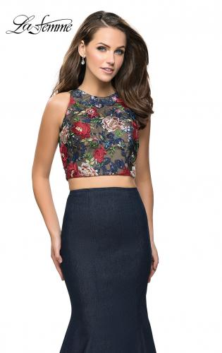 Picture of: Two Piece Mermaid Prom Dress with Denim Skirt, Style: 25614, Detail Picture 1