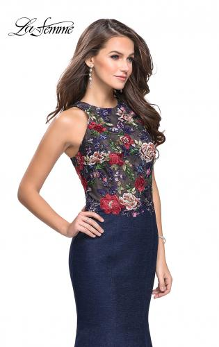 Picture of: High Neck Denim Mermaid Gown with Floral Print, Style: 25885, Detail Picture 1