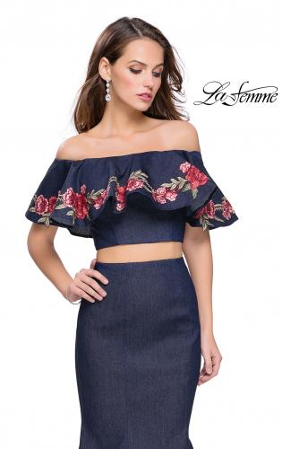 Picture of: Two Piece Denim Dress with Floral and Ruffle Detail, Style: 26013, Detail Picture 1