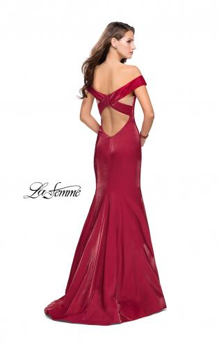 Picture of: Off the Shoulder Satin Prom Dress with Strappy Back, Style: 25764, Back Picture