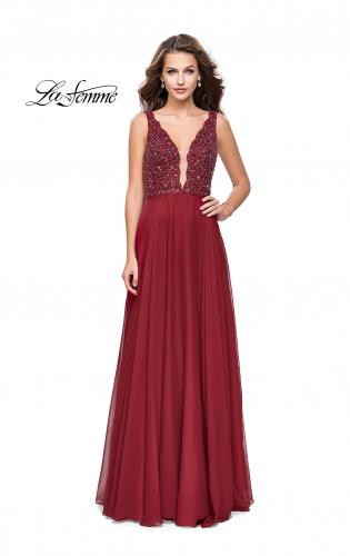 Picture of: A-Line Prom Gown with Chiffon Skirt and Beaded Bodice, Style: 26053, Detail Picture 1