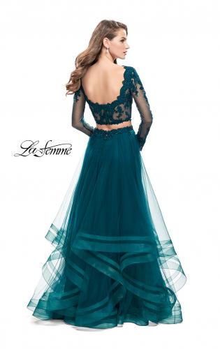 Picture of: Long Two Piece Prom Dress with Tulle Skirt and Lace Top, Style: 25300, Back Picture