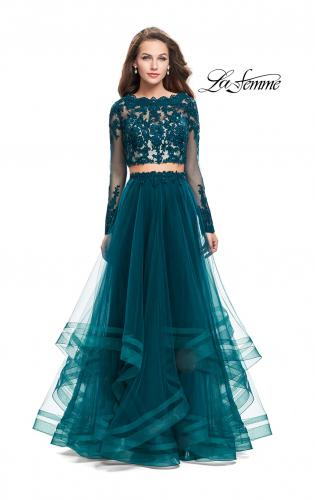 Picture of: Long Two Piece Prom Dress with Tulle Skirt and Lace Top, Style: 25300, Detail Picture 1