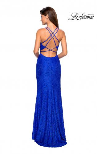 0136830298a ... Picture of  Stretch Lace Prom Gown with Rhinestones and Slit