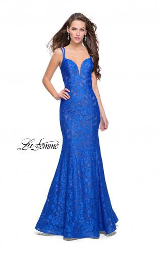Picture of: Long Lace Mermaid Prom Dress with Double Straps, Style: 26043, Main Picture