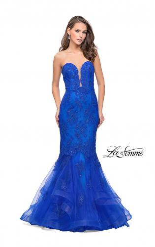 Picture of: Long Strapless Lace Prom Dress with Tulle Skirt, Style: 26219, Main Picture