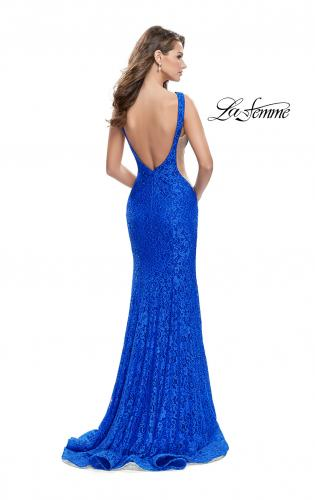 Picture of: Lace Mermaid Dress with Sheer Sides and Low Back, Style: 24903, Back Picture