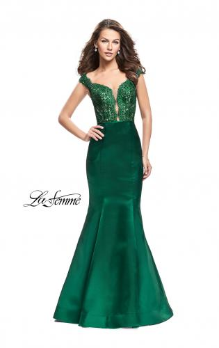 Picture of: Off the Shoulder Mikado Prom Dress with Lace and Beads, Style: 25926, Back Picture