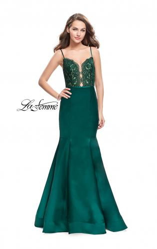 Picture of: Mikado Prom Dress with Lace Beaded Bodice and Low Back, Style: 25751, Detail Picture 1