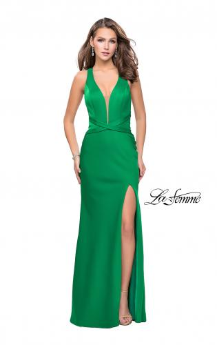 Picture of: Halter Top Prom Dress with Deep V Neckline and Slit, Style: 25904, Detail Picture 2