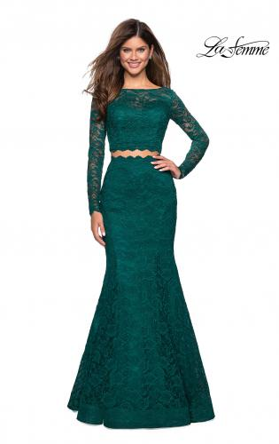 a08dc4660c17 Picture of: Stretch Lace Long Sleeve Two Piece Prom Dress, Style: 27601, ...