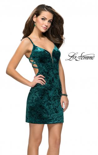 Picture of: Crushed Velvet Short Dress with Sweetheart Neckline, Style: 26636, Back Picture