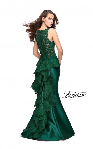 Picture of: Long Mermaid Gown with Lace Back and Ruffles, Style: 26217, Main Picture