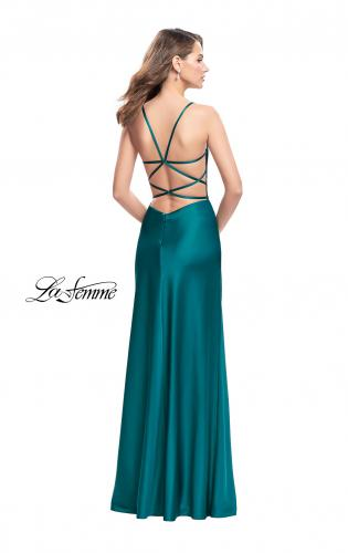 Picture of: Satin Slip Prom Dress with Strappy Back, Style: 25270, Back Picture