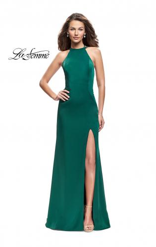 Picture of: Long Satin Halter Prom Dress with Criss Cross Back, Style: 25439, Back Picture