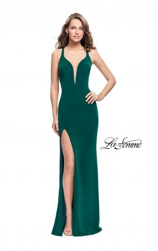 Picture of: Long Jersey Prom Dress with Lace Up Strappy Open Back, Style: 25504, Back Picture