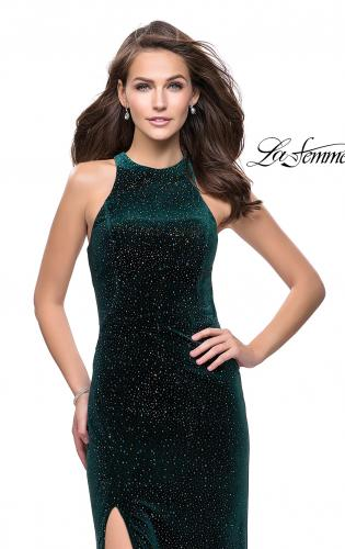 Picture of: Long Sparkling Velvet Prom Dress with Open Racer Back, Style: 25517, Back Picture