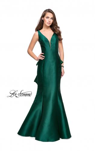 Picture of: Long Mermaid Gown with Lace Back and Ruffles, Style: 26217, Back Picture