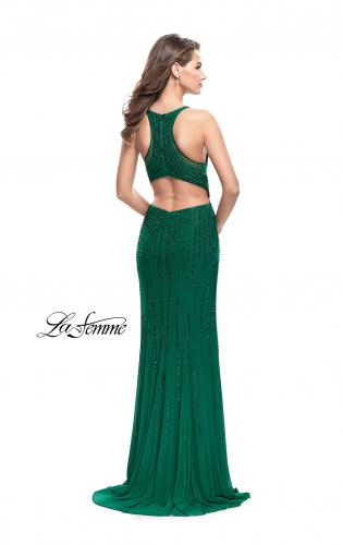 Picture of: Long Metallic Beaded Prom Gown with Front Cut Outs, Style: 26300, Back Picture