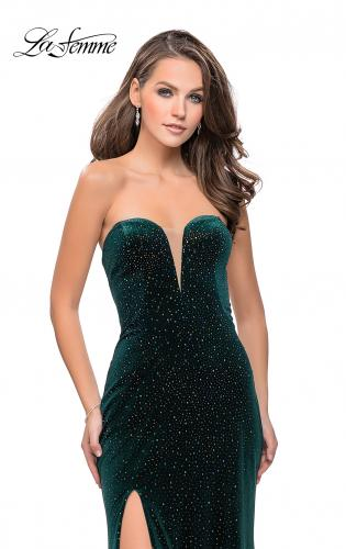 Picture of: Long Sparkly Jersey Prom Dress with Side Leg Slit, Style: 25443, Detail Picture 1