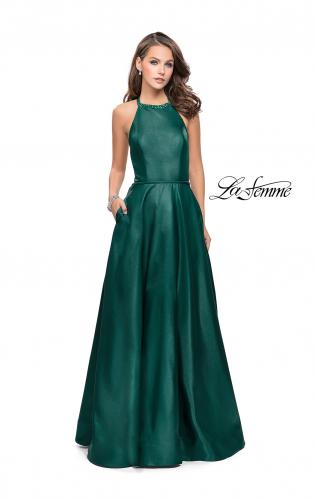 Picture of: Long A-line Beaded Mikado Prom Dress with Pockets, Style: 26162, Detail Picture 1