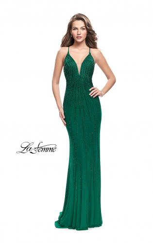 Picture of: Long Metallic Beaded Prom Gown with Front Cut Outs, Style: 26300, Detail Picture 1