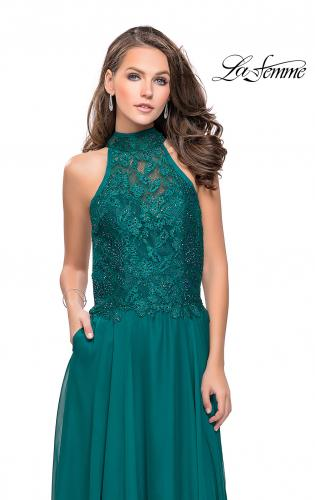 Picture of: Long A line Chiffon Dress with High Neck Lace Up Top, Style: 25355, Detail Picture 2